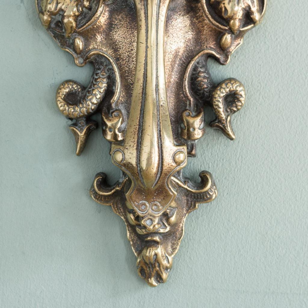 Early Victorian brass door knocker,-115206