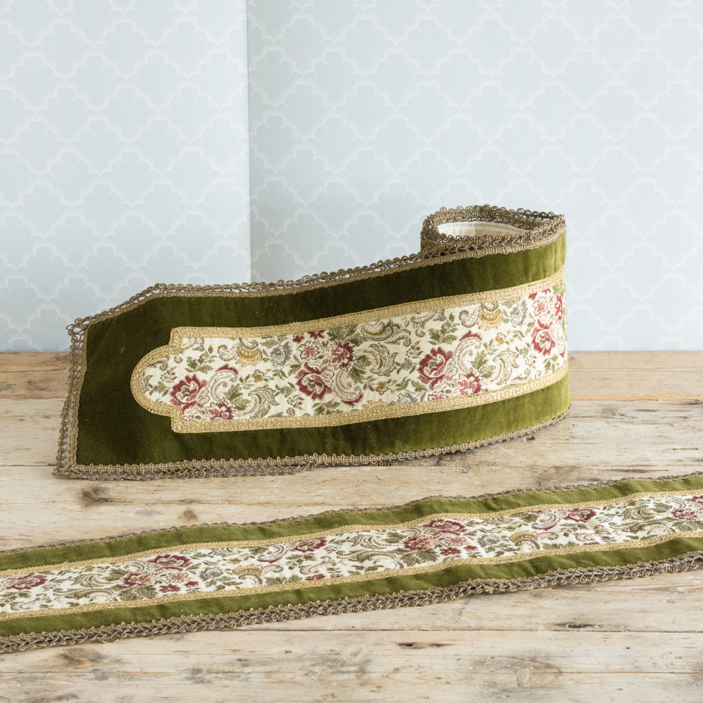 Two green velvet and embroidered table runners,-0