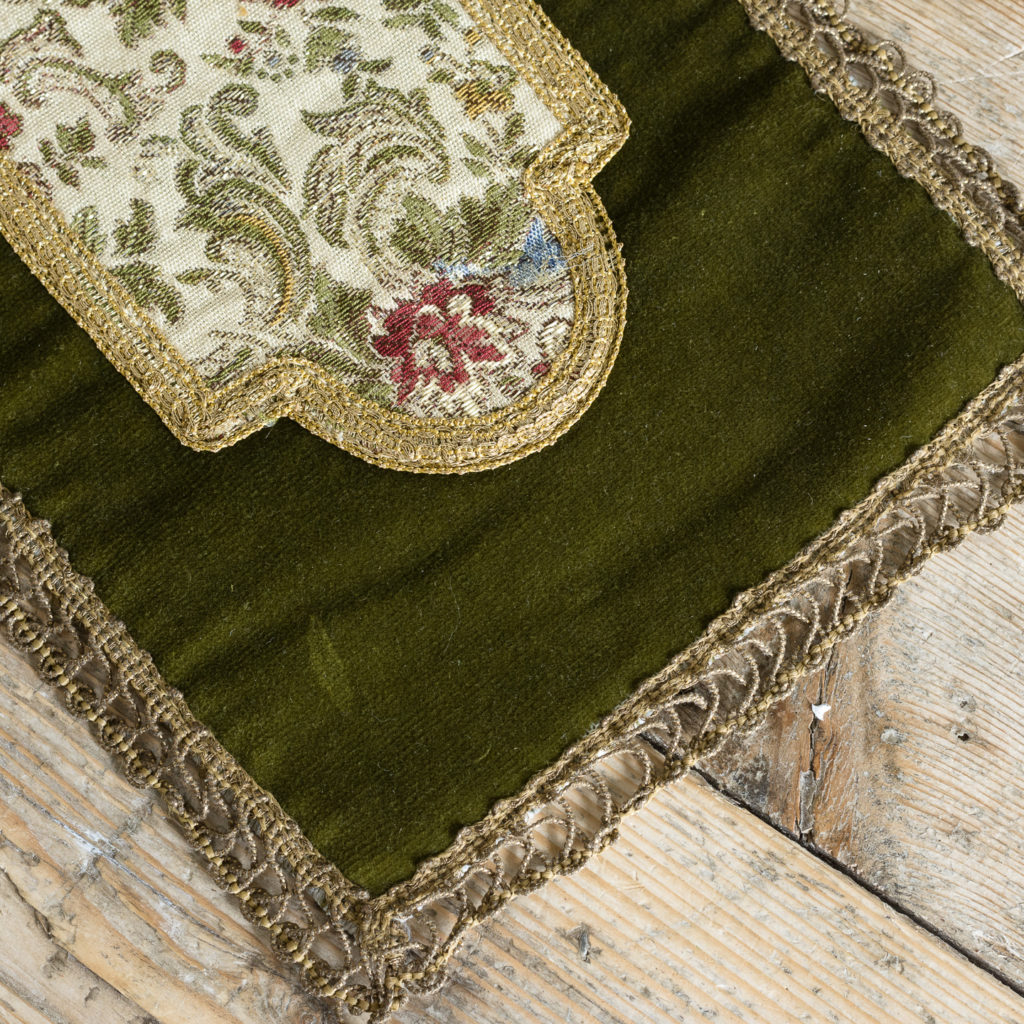 Two green velvet and embroidered table runners,-116019