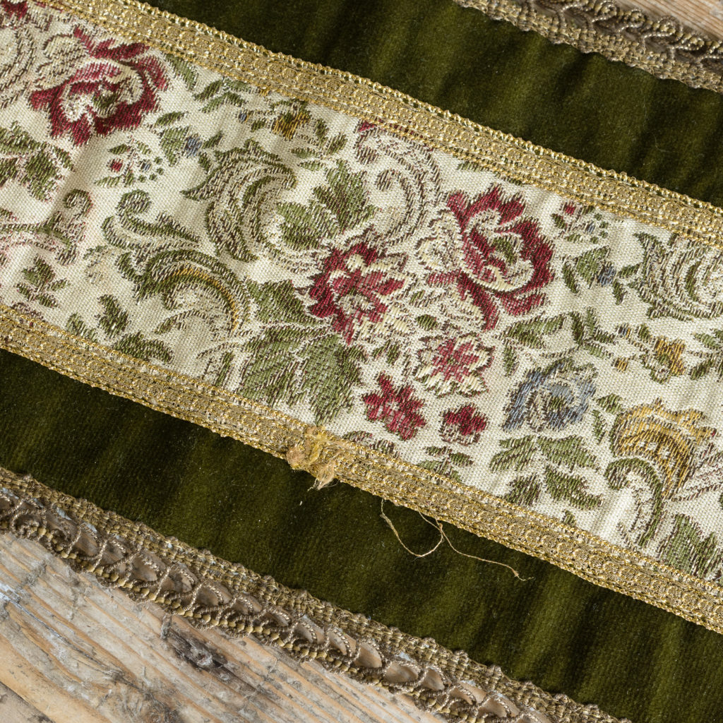 Two green velvet and embroidered table runners,-116026