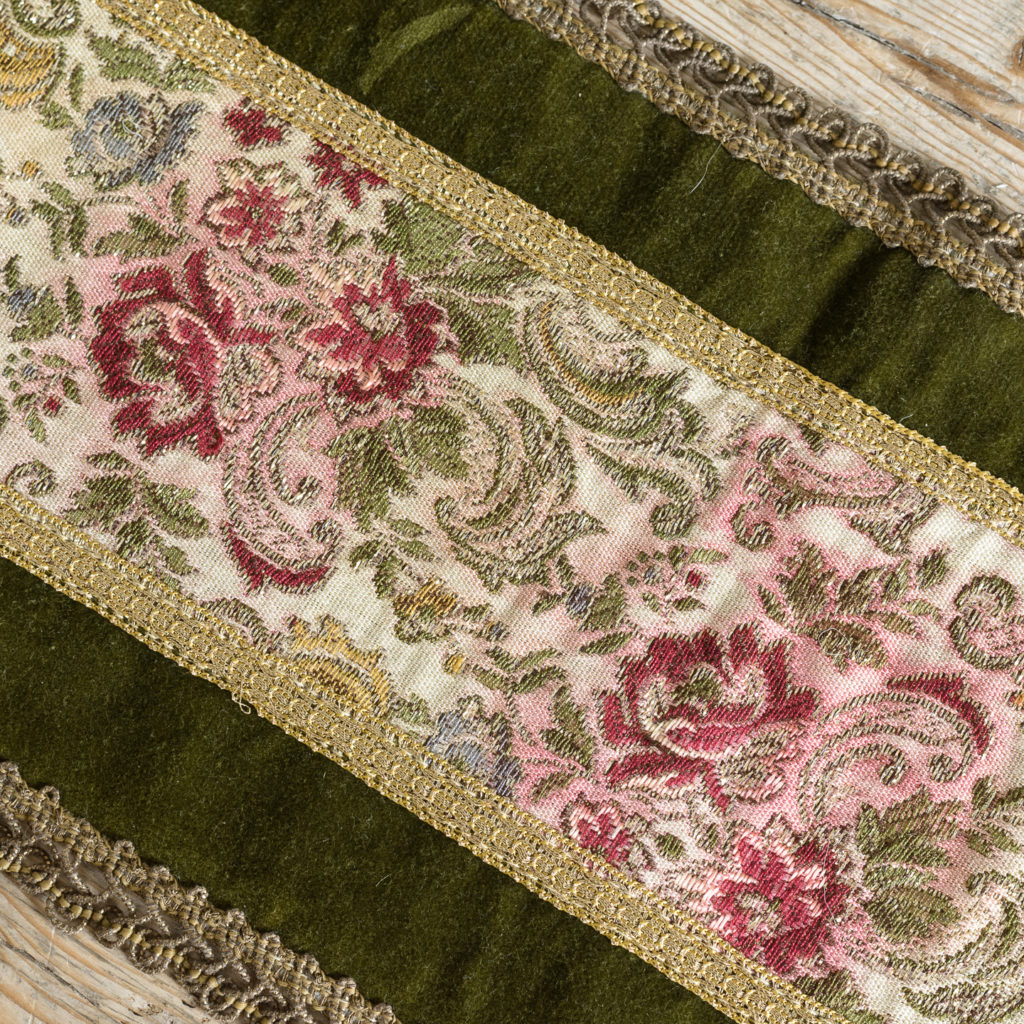 Two green velvet and embroidered table runners,-116028