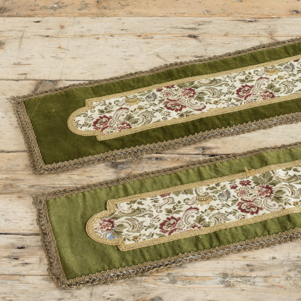 Two green velvet and embroidered table runners,-116023