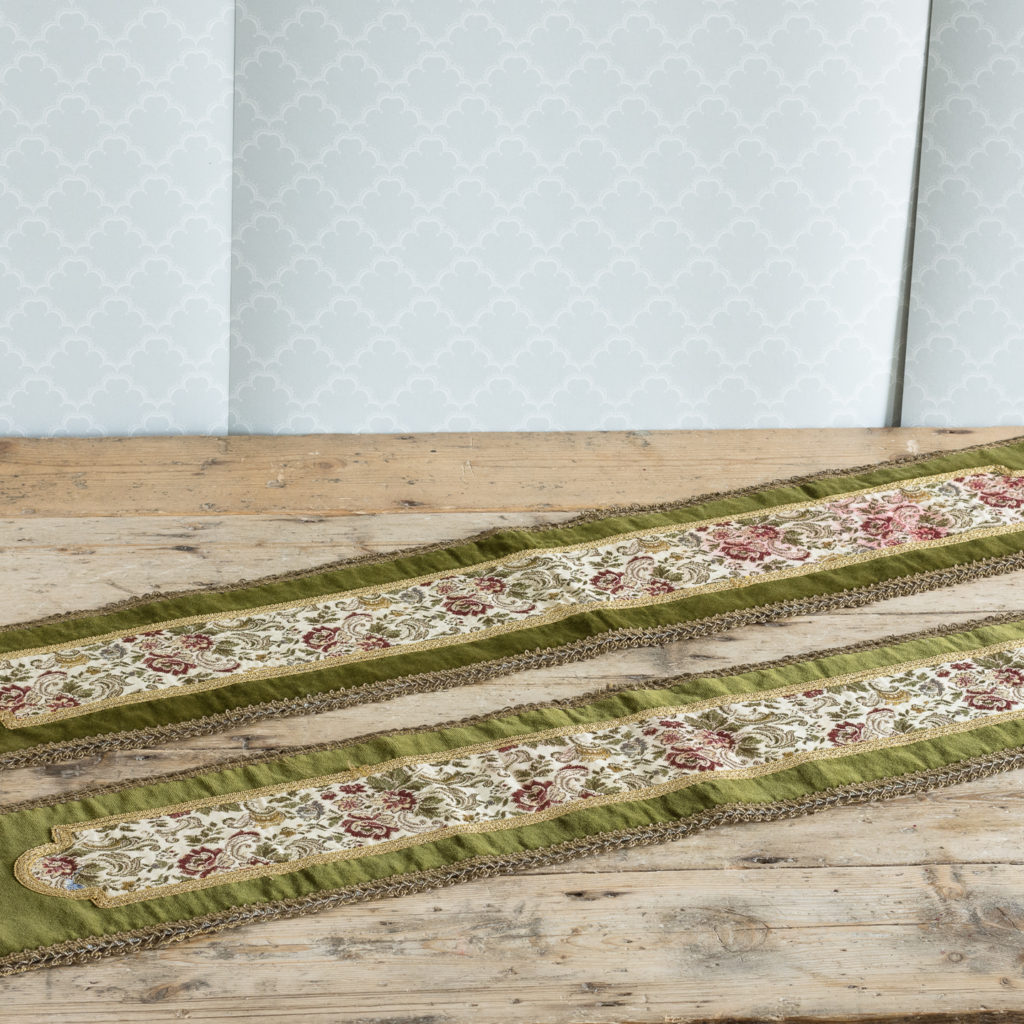 Two green velvet and embroidered table runners,-116017