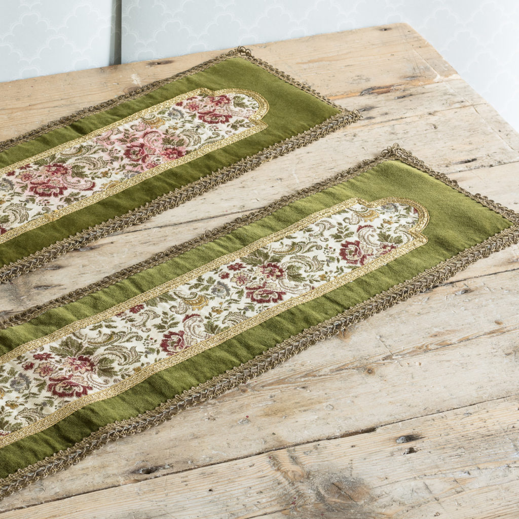 Two green velvet and embroidered table runners,-116024