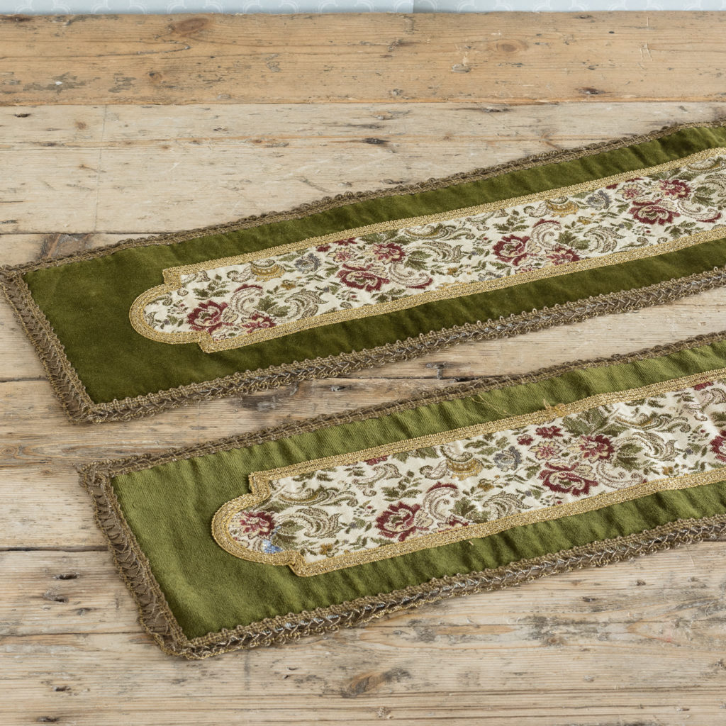 Two green velvet and embroidered table runners,-116018