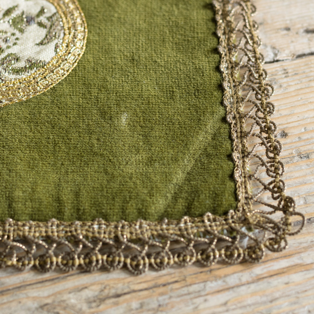 Two green velvet and embroidered table runners,-116016