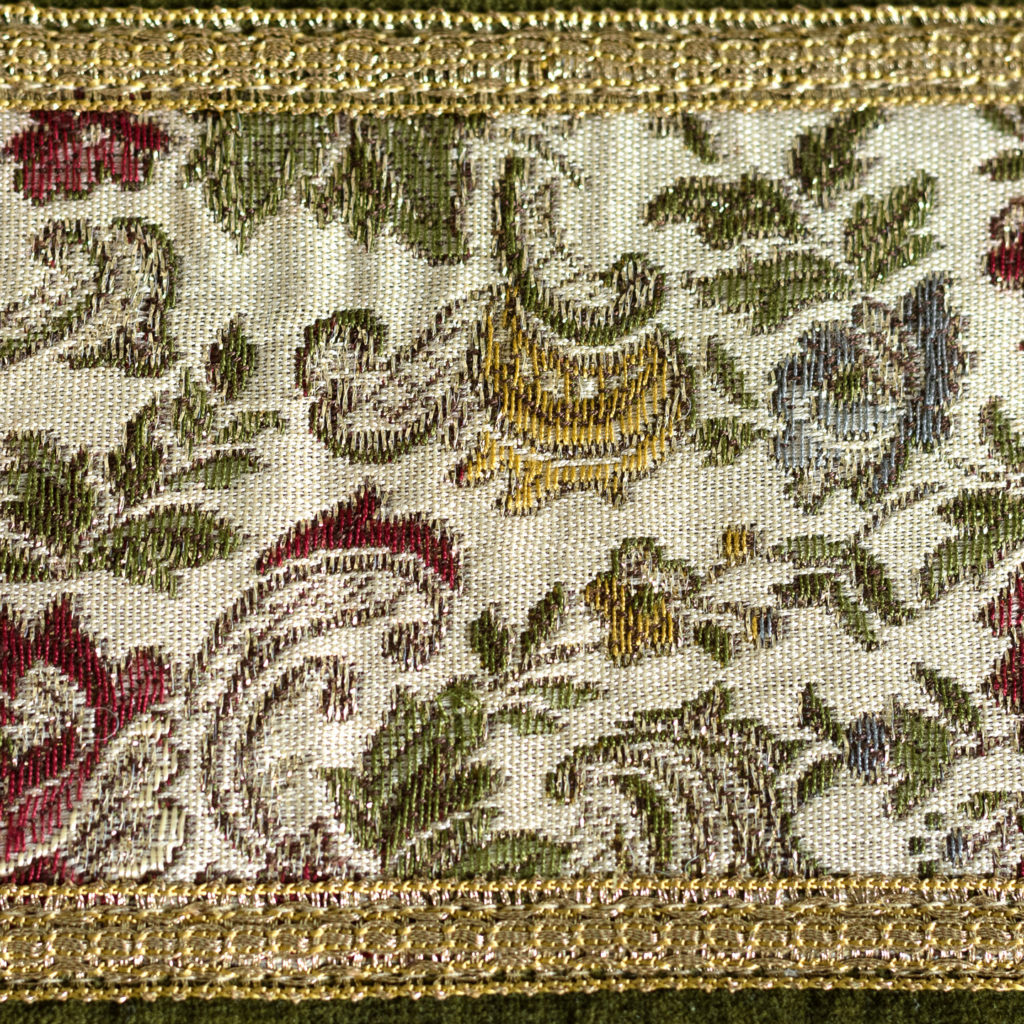 Two green velvet and embroidered table runners,-116020