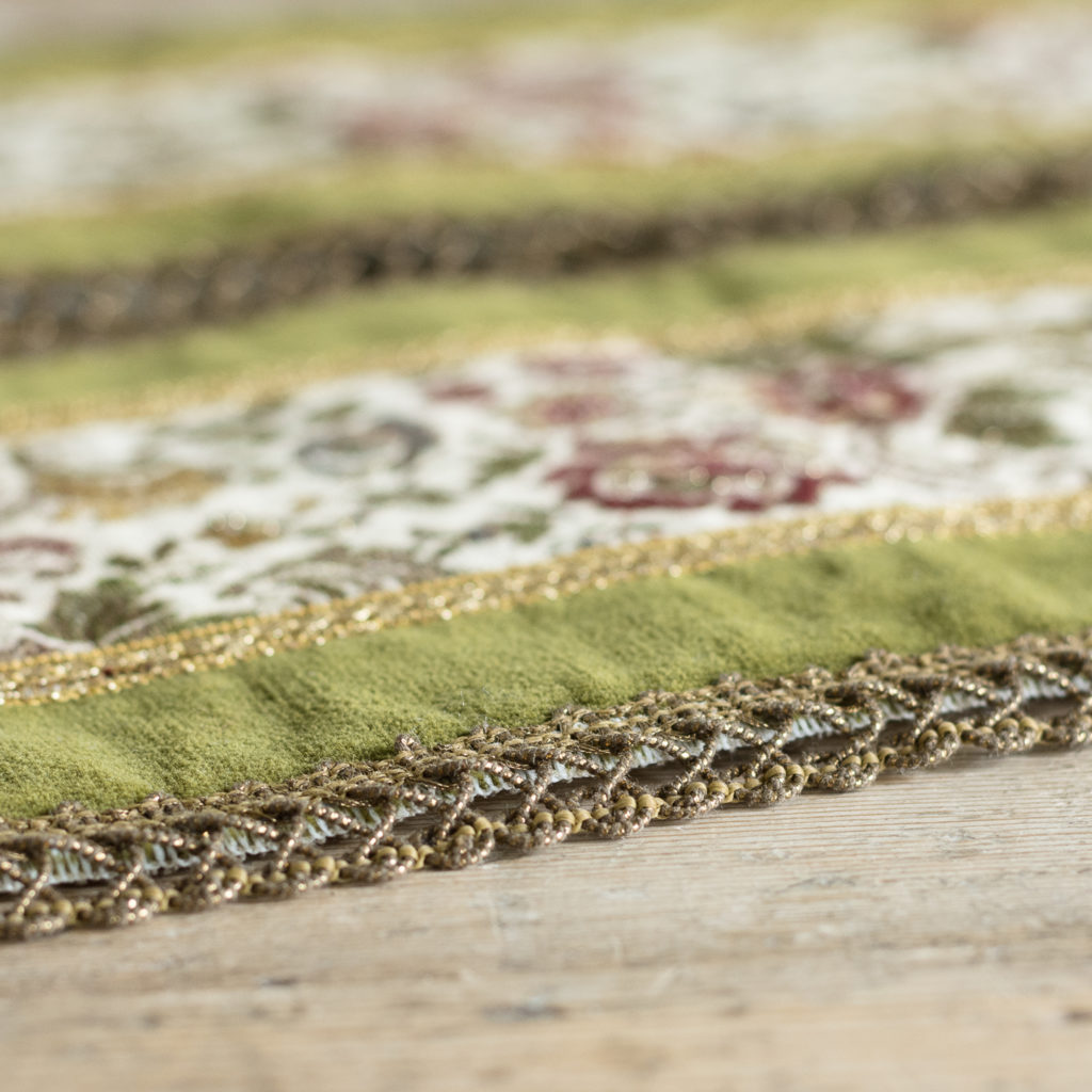 Two green velvet and embroidered table runners,-116015