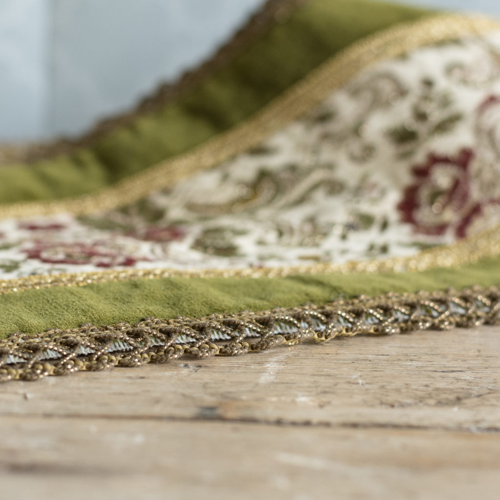 Two green velvet and embroidered table runners,-116022