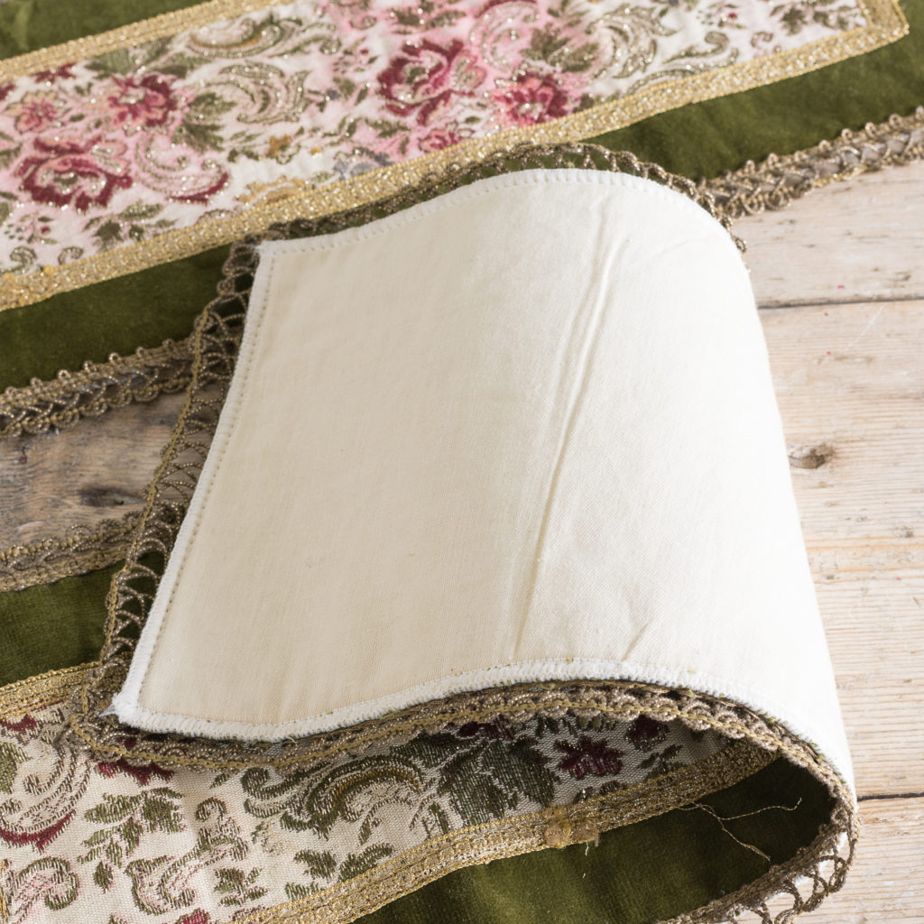 Two green velvet and embroidered table runners,-116021