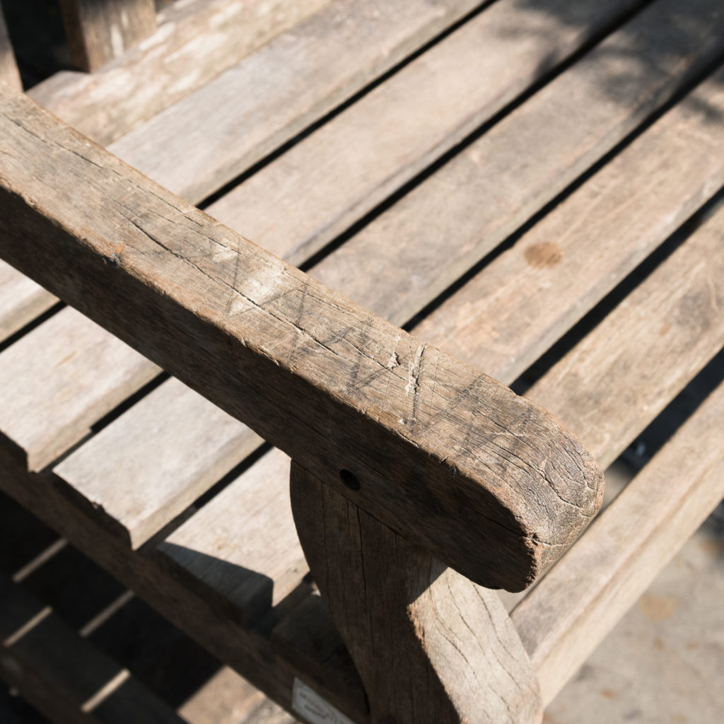 A weathered teak bench,-115992