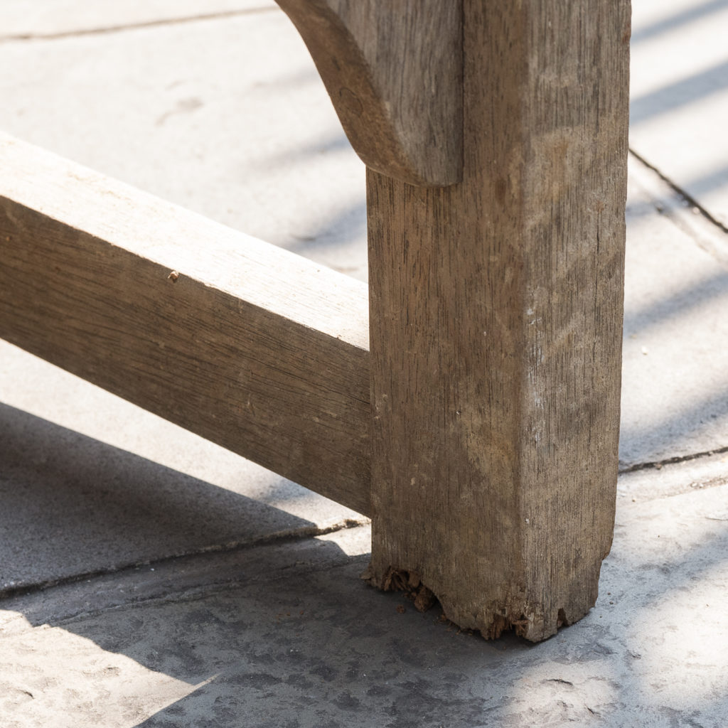 A weathered teak bench,-115995