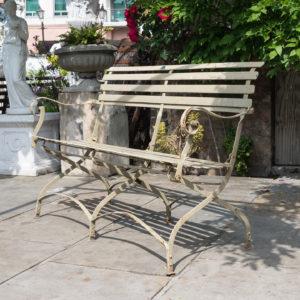 Wrought iron garden bench, -0