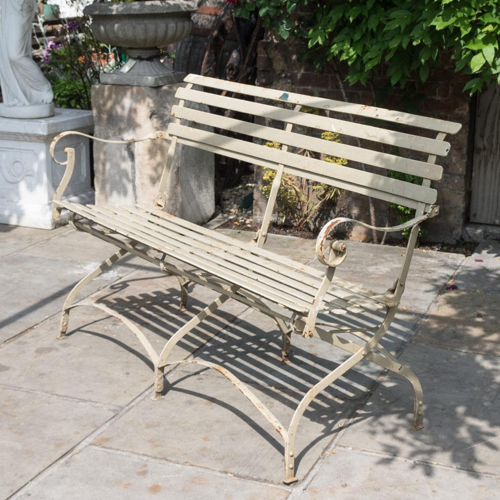Wrought iron garden bench, -115955