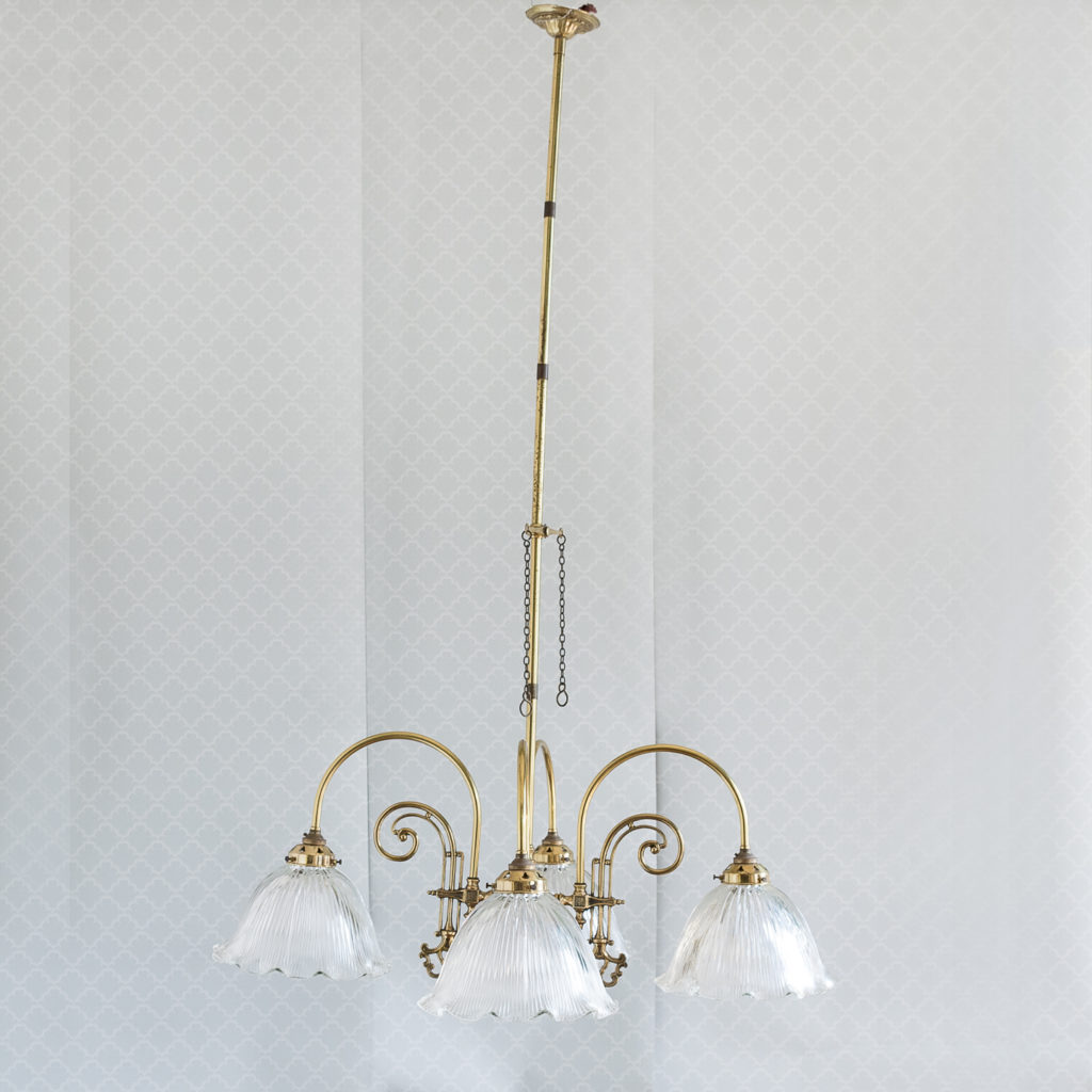 Mid-Victorian style 'gasolier' ceiling lights, -0