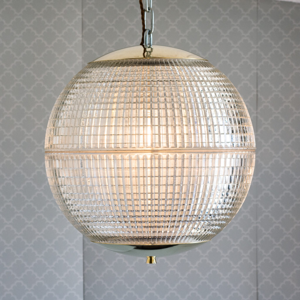 Small French Holophane globe pendant lights,-116973
