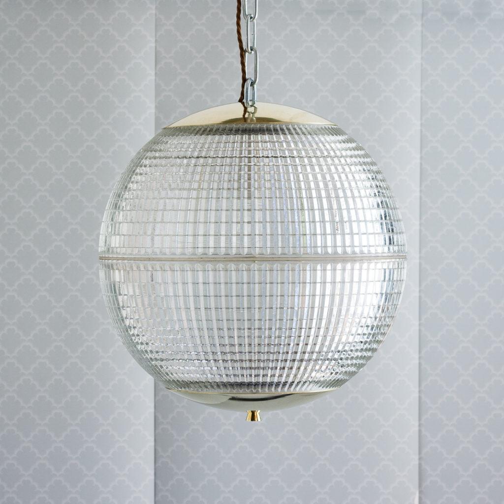 Small French Holophane globe pendant lights,-0