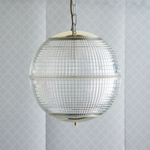 Small French Holophane globe pendant lights,-0