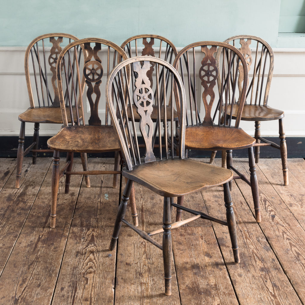 Matched set of six wheel back Windsor chairs,-0