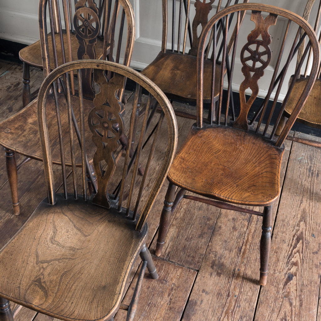 Matched set of six wheel back Windsor chairs,-116753