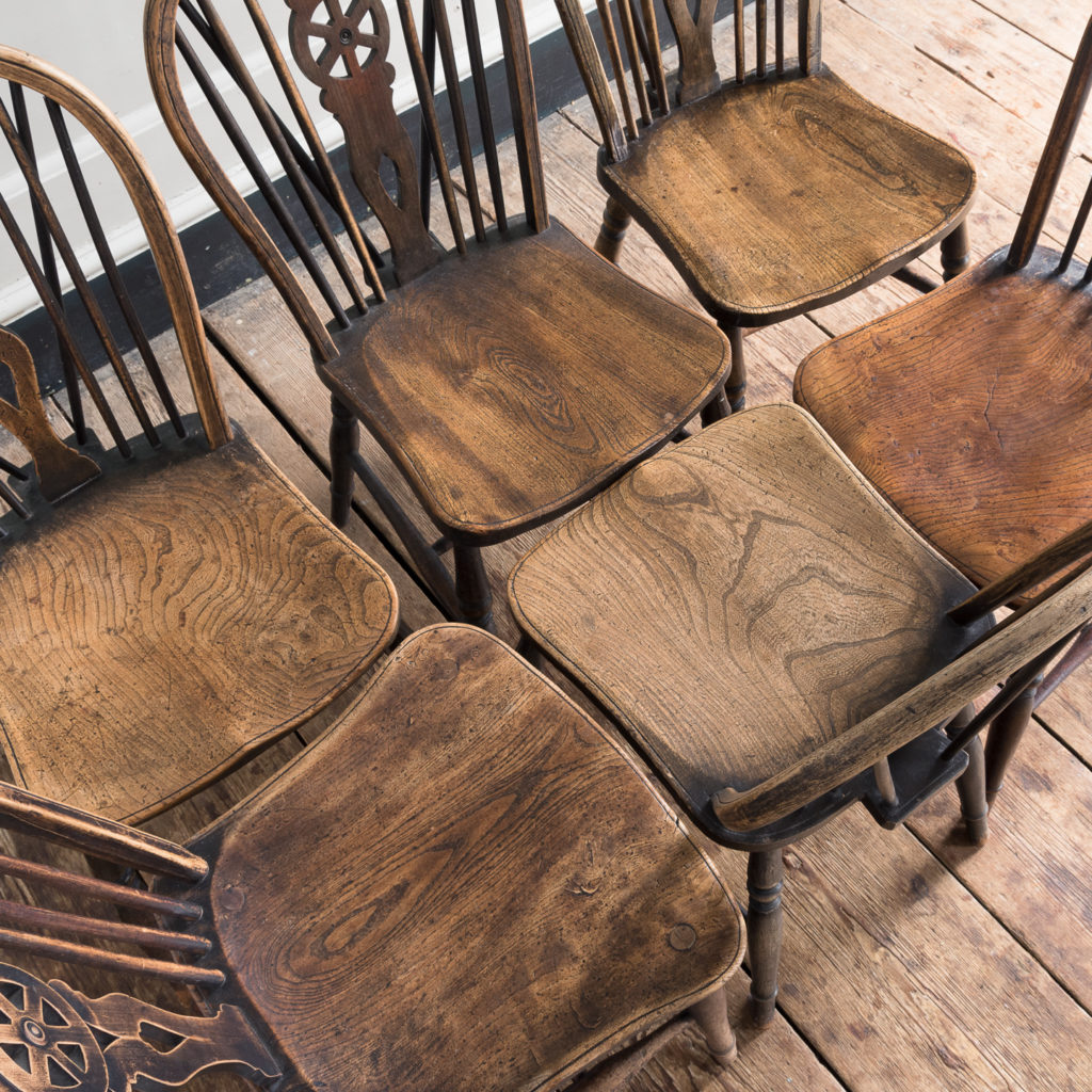 Matched set of six wheel back Windsor chairs,-116739