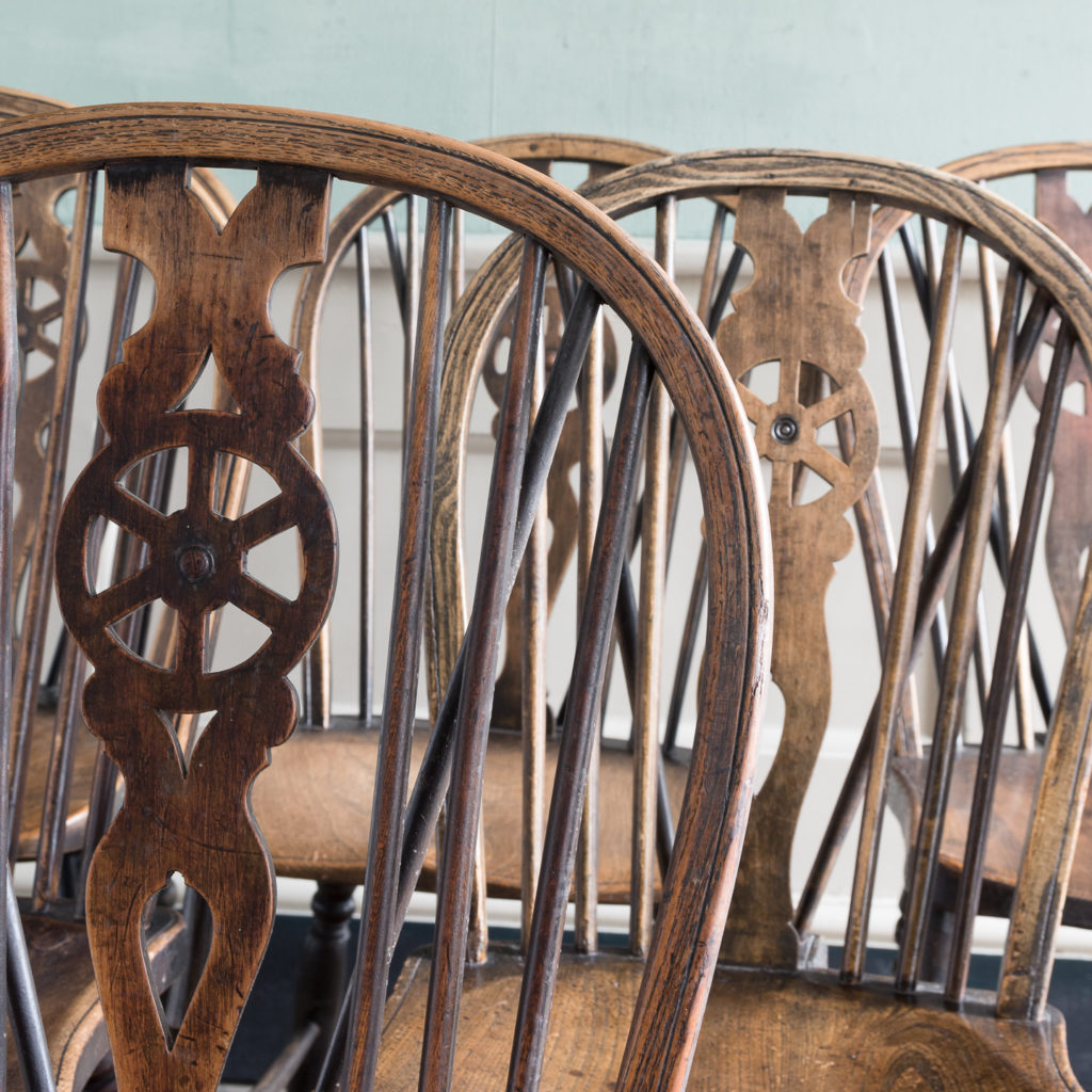 Matched set of six wheel back Windsor chairs,-116751