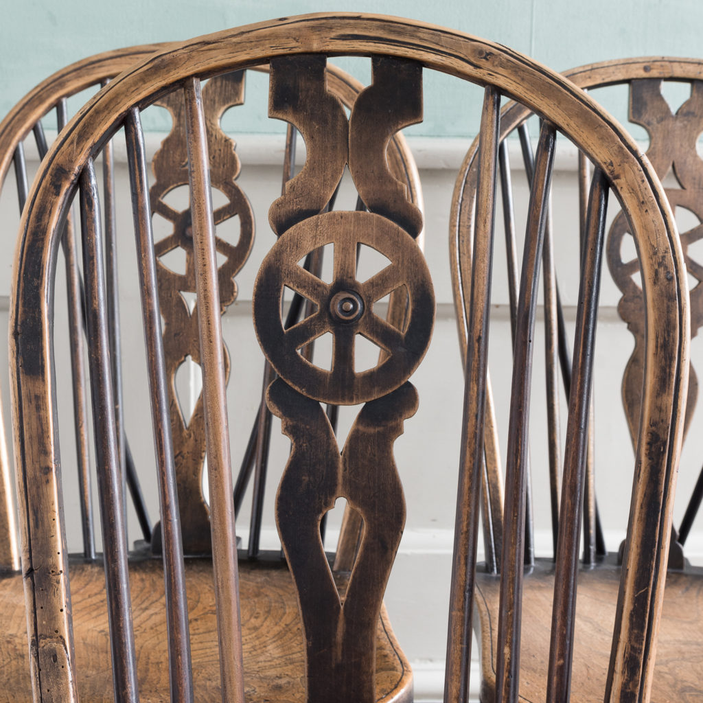 Matched set of six wheel back Windsor chairs,-116754