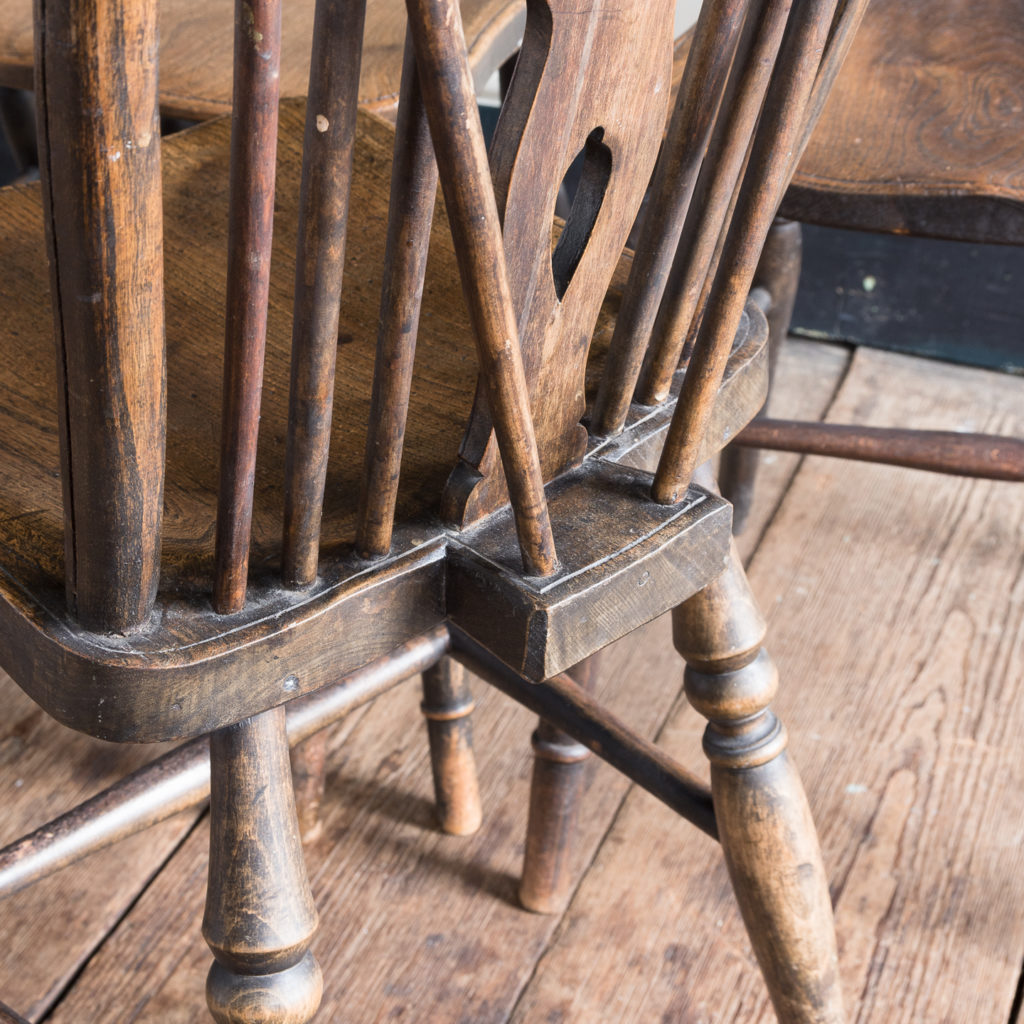 Matched set of six wheel back Windsor chairs,-116749