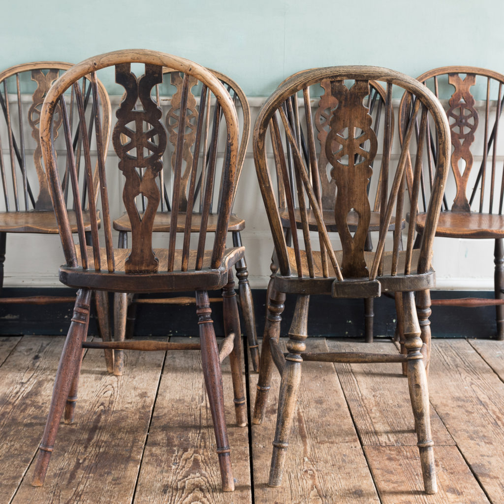 Matched set of six wheel back Windsor chairs,-116755