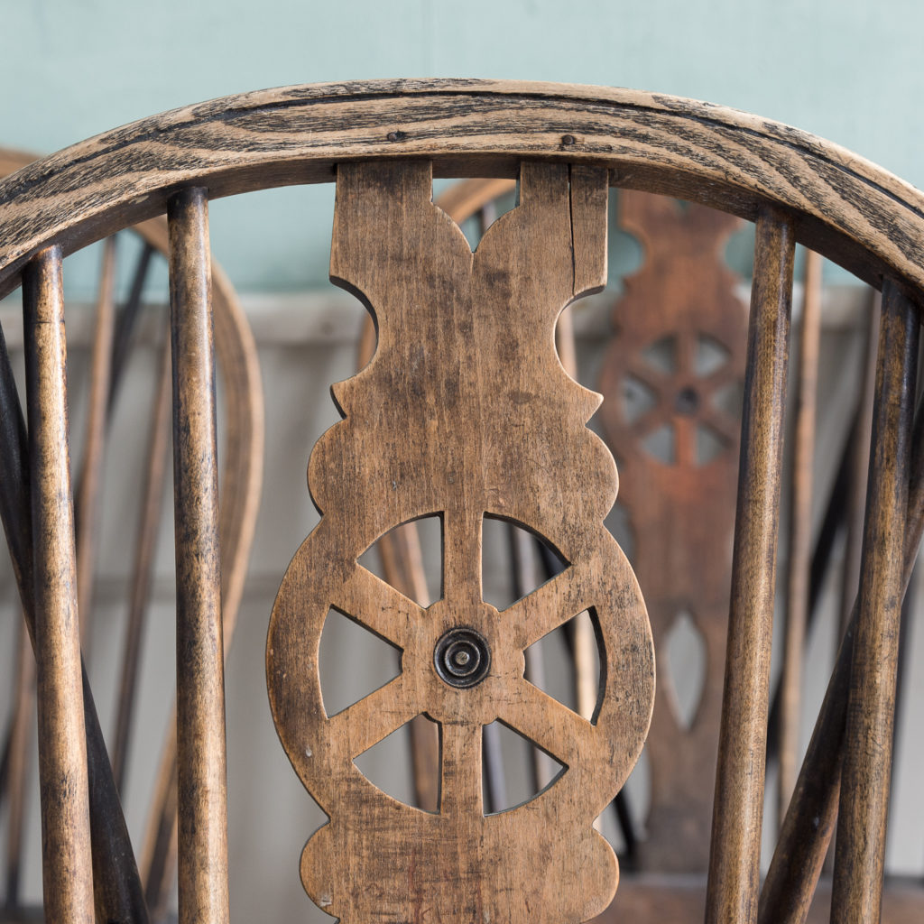 Matched set of six wheel back Windsor chairs,-116740
