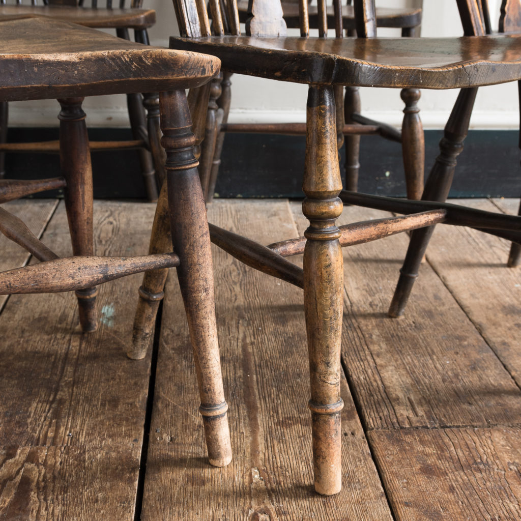 Matched set of six wheel back Windsor chairs,-116752