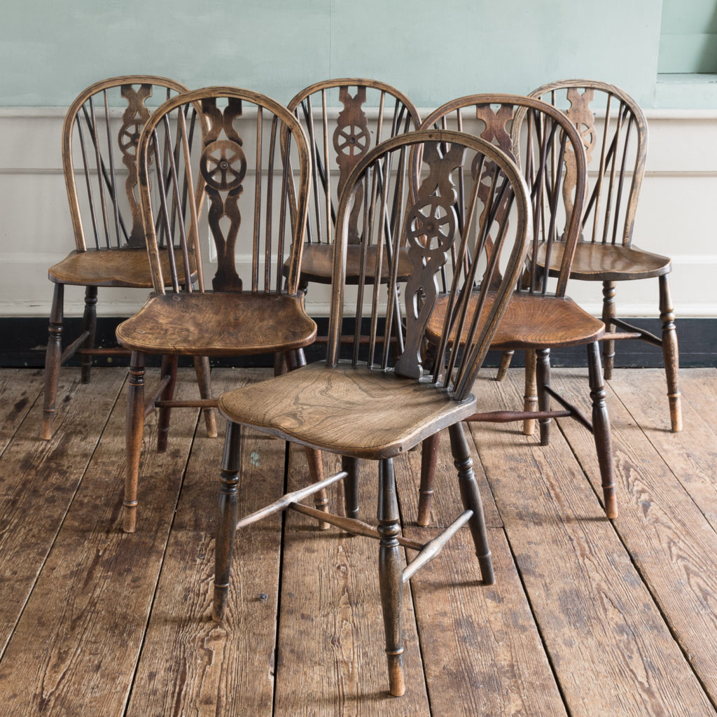 Matched set of six wheel back Windsor chairs,-116746