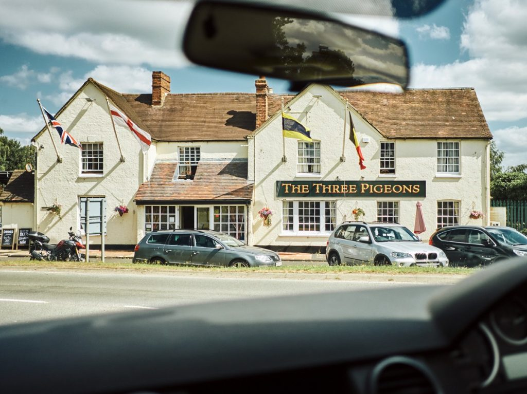 View of the Three Pigeons Inn from the M40