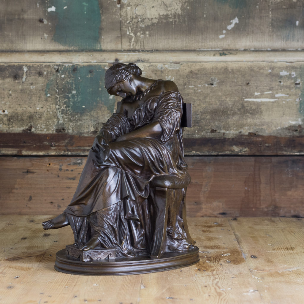 French nineteenth century bronze sculpture of Penelope waiting for Odysseus,-0