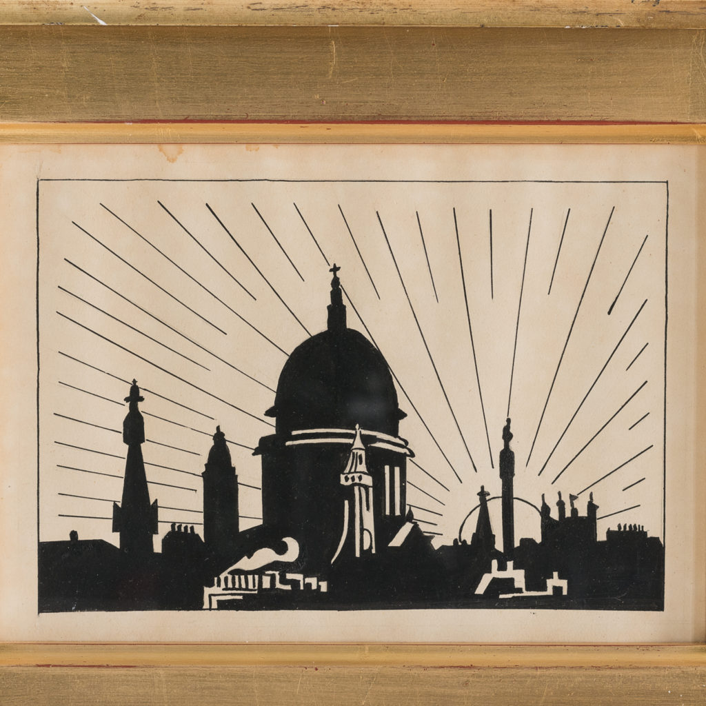 1920s pen and ink drawing of the London skyline,-116322