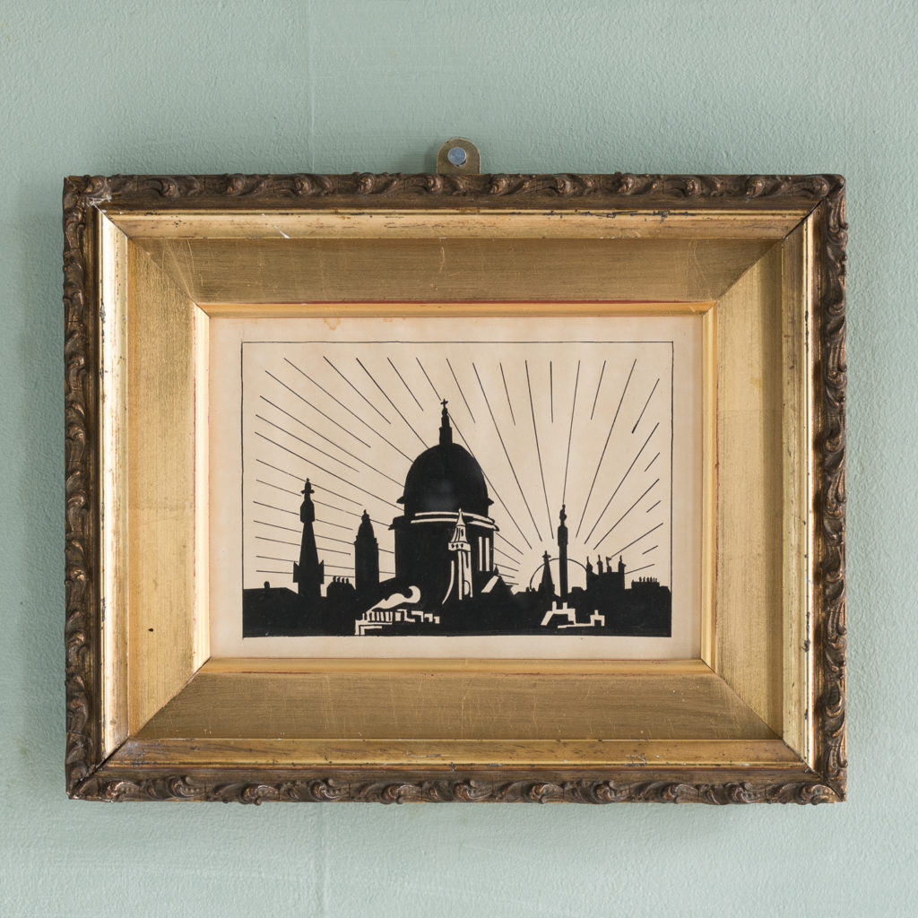 1920s pen and ink drawing of the London skyline,-0
