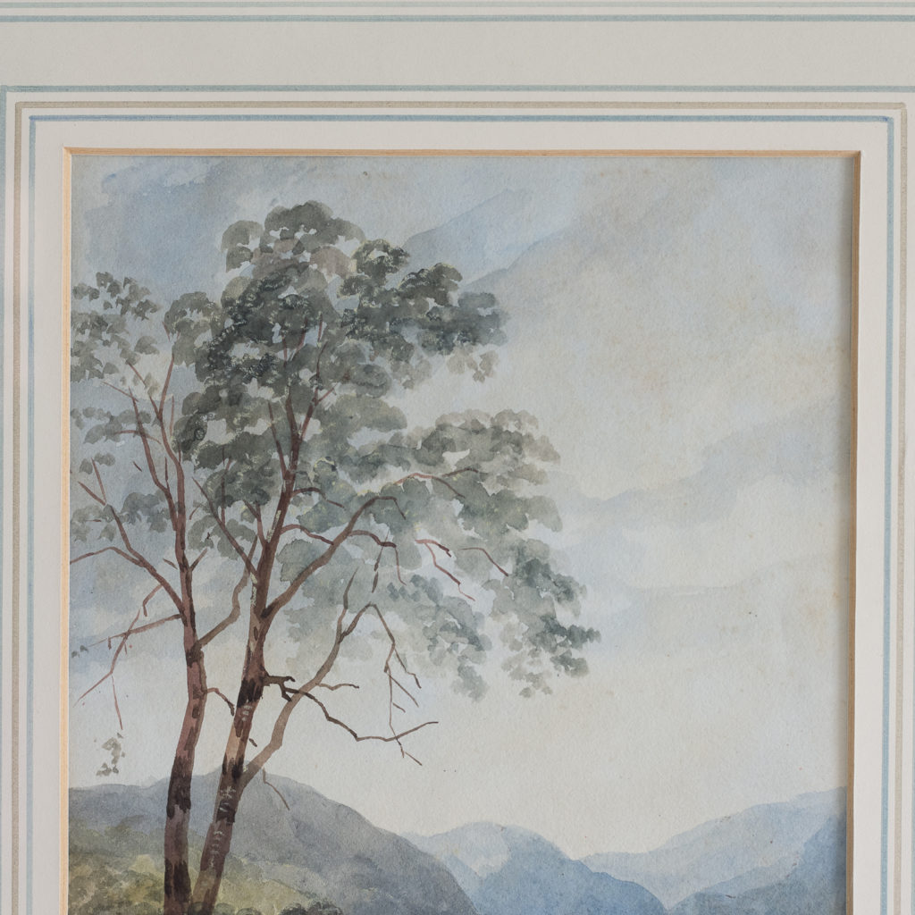 English School, landscape with figure,-116268