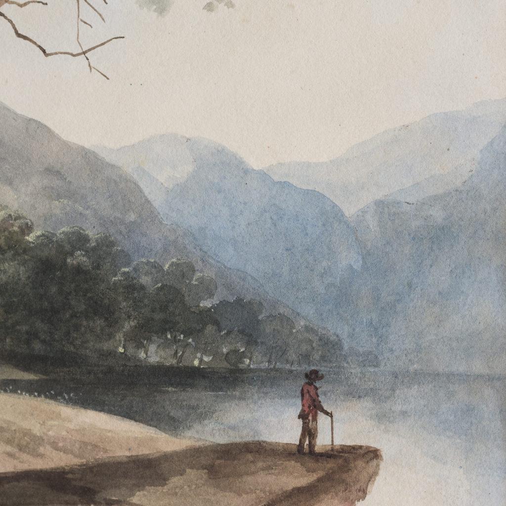 English School, landscape with figure,-116266