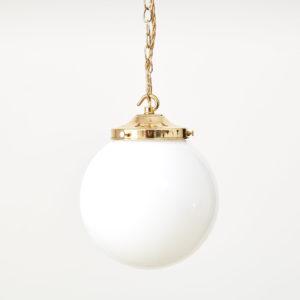 Reclaimed opaline globe pendant light,-0