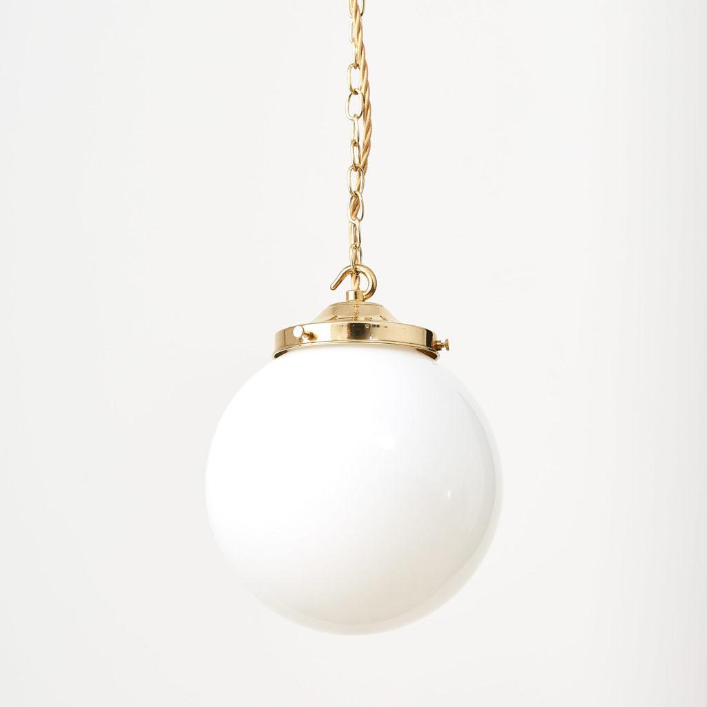 Reclaimed opaline globe pendant light,-117448