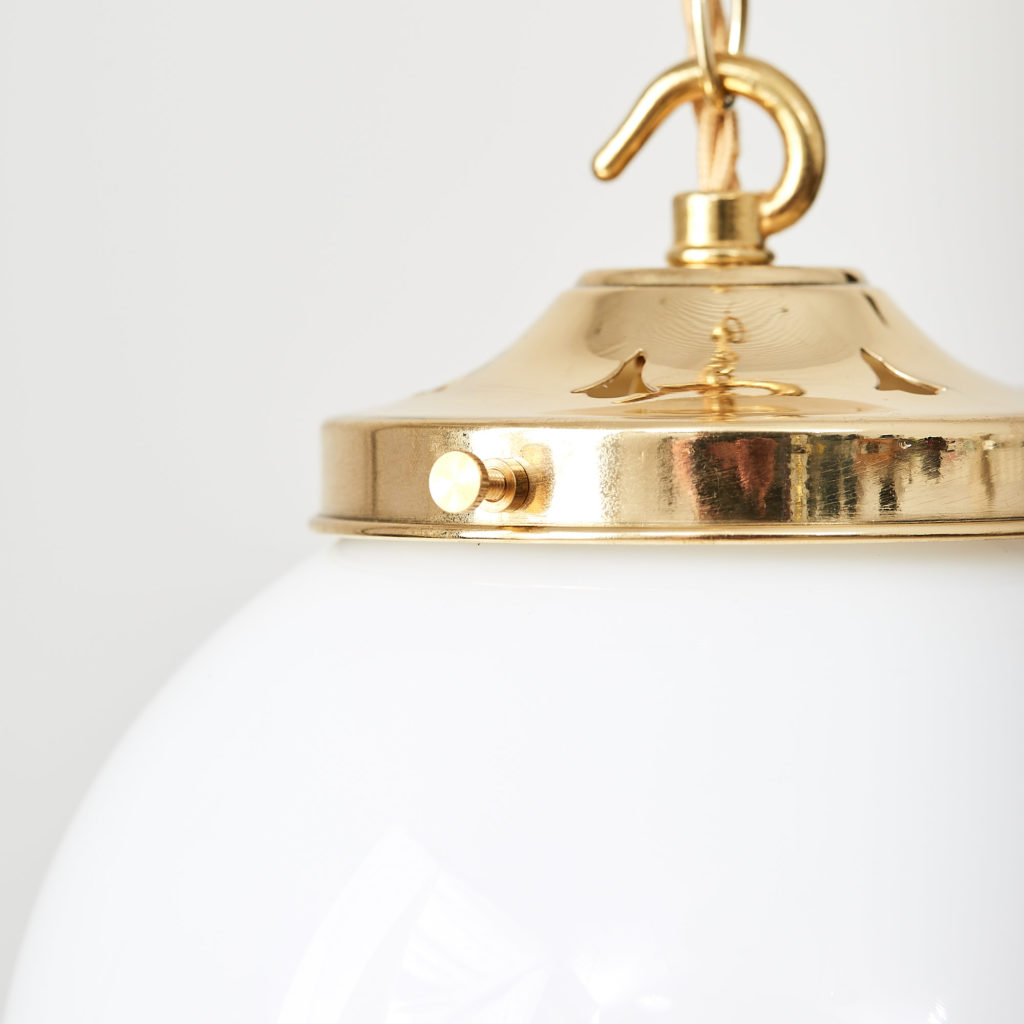 Reclaimed opaline globe pendant light,-117444