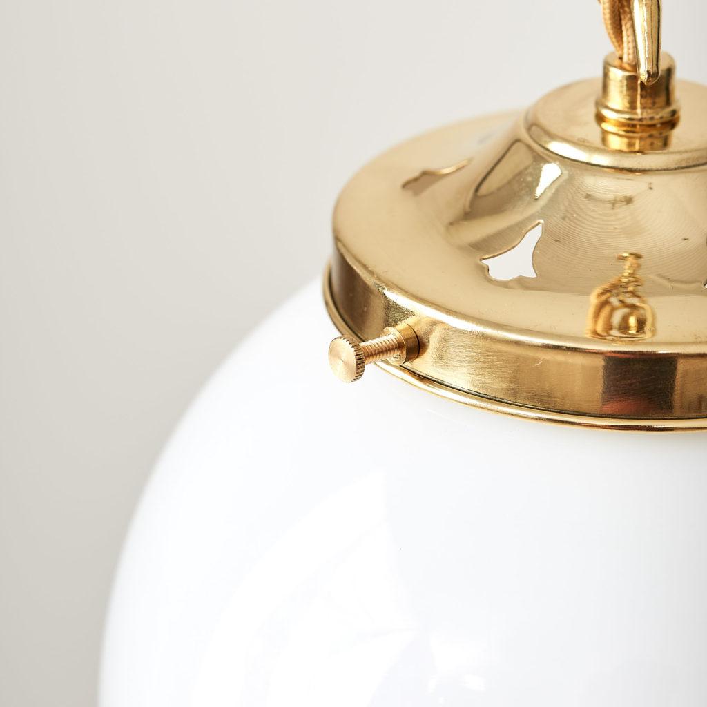 Reclaimed opaline globe pendant light,-117446