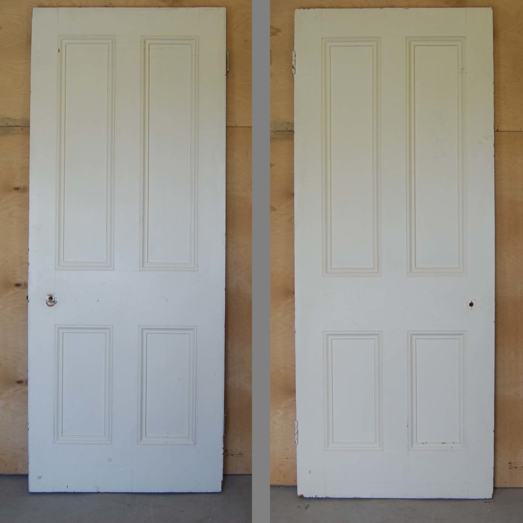 A Victorian painted four panel door-0