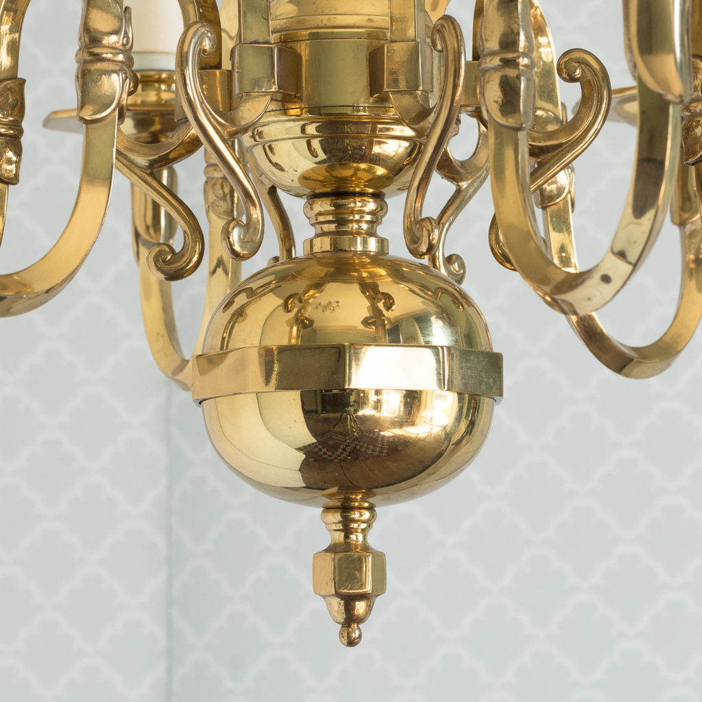 Small six light brass chandelier,-117427