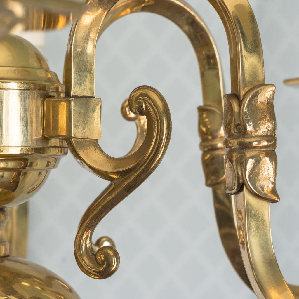 Small six light brass chandelier,-117424