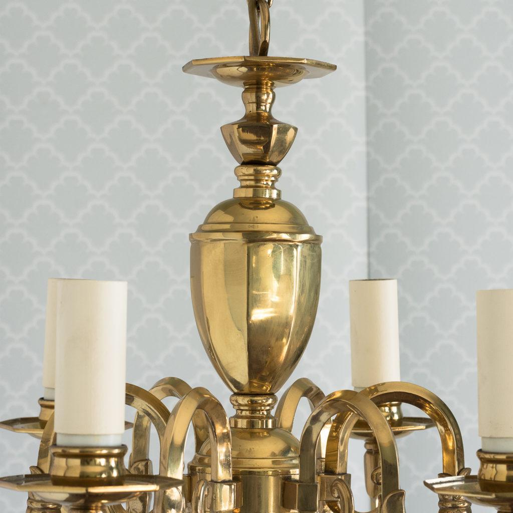 Small six light brass chandelier,-117430