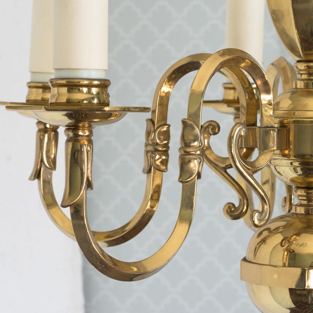 Small six light brass chandelier,-117429
