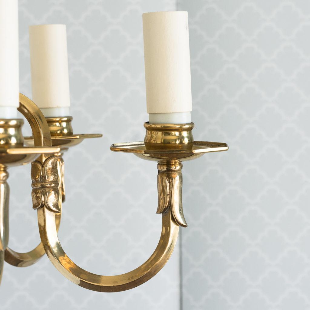 Small six light brass chandelier,-117428