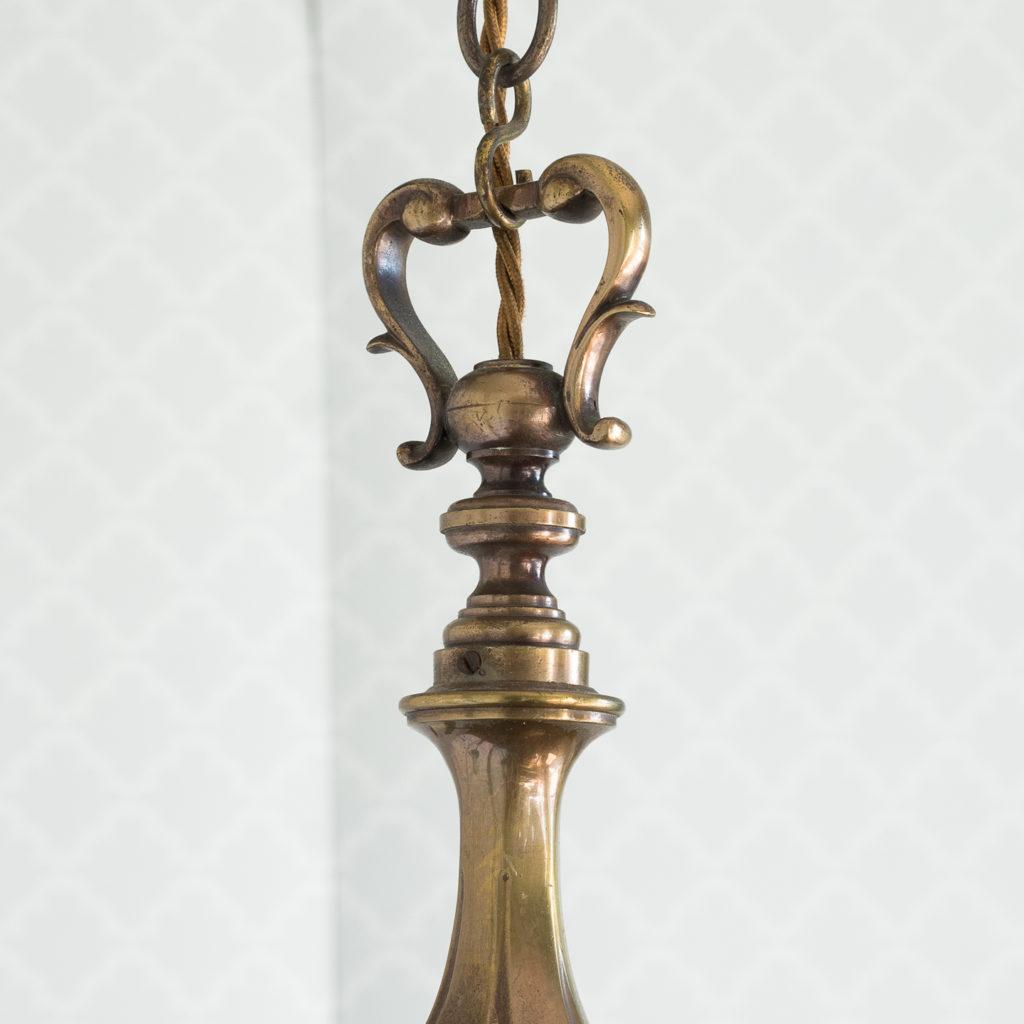 Three bronzed five light chandeliers, -117433