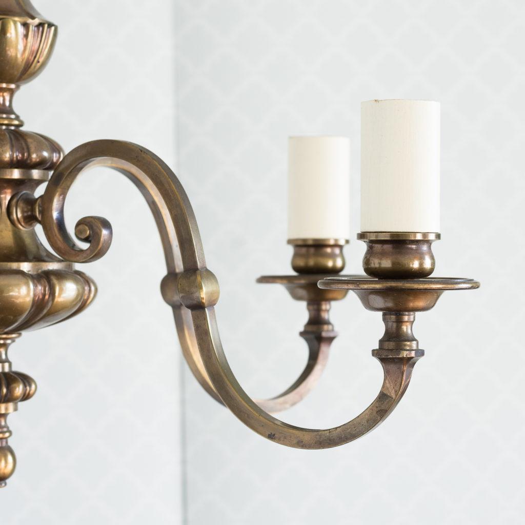 Three bronzed five light chandeliers, -117434
